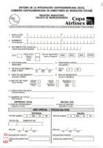 Registro Migratorio Tarjeta de Ingreso/Egreso - Copa Airlines