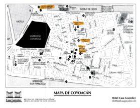 Mapa de Coyoacán - Hotel Casa González - Pueblo de Xoco - Axotla