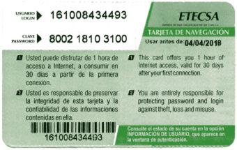 Etecsa empresa de telecomunicaciones de cuba - tarjeta de navegación - usuario y clave