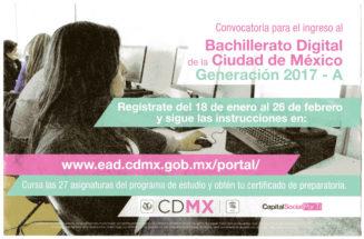 Convocatoria para el ingreso al Bachillerato Digital de la Ciudad de México